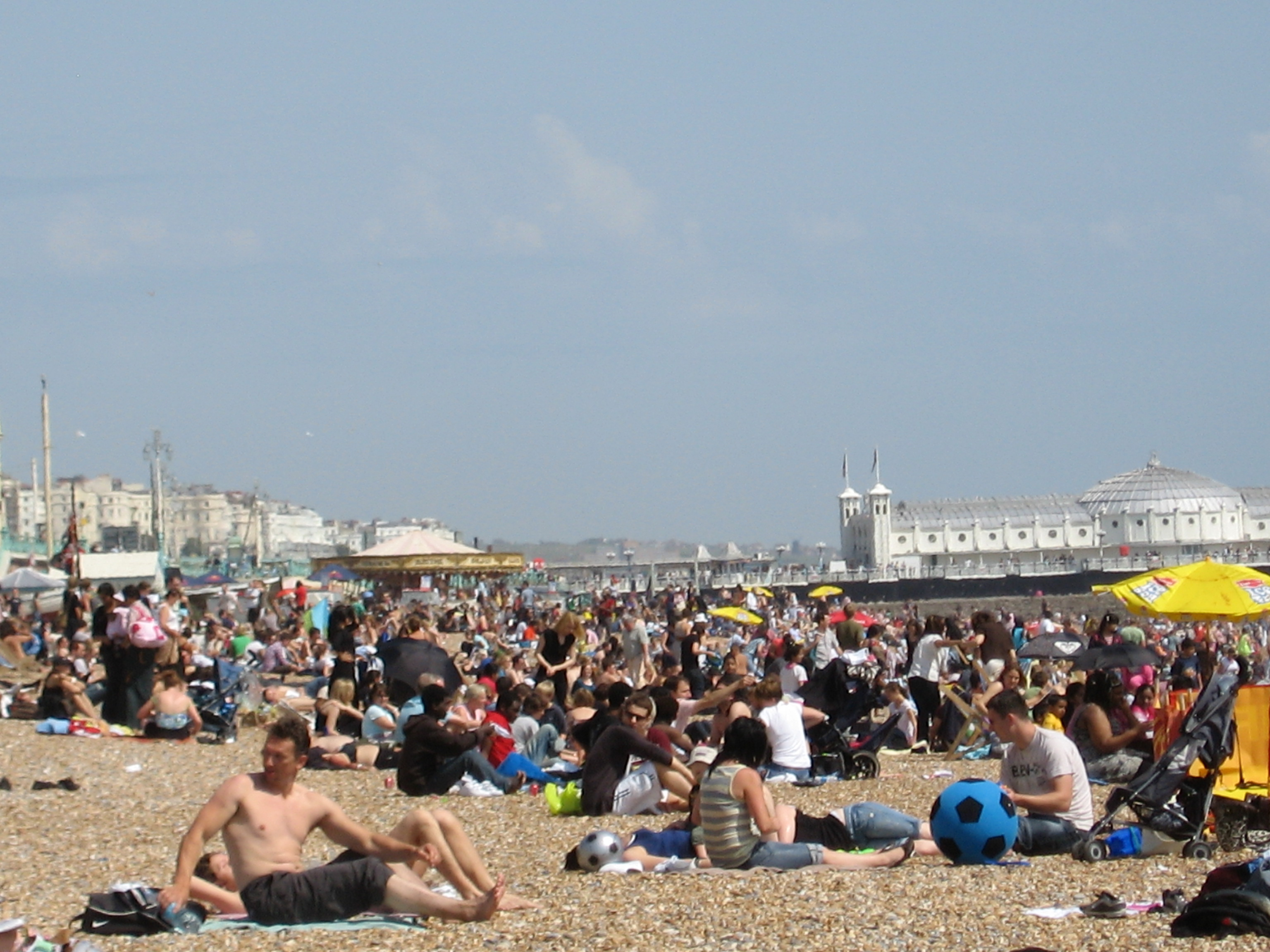 Crowded beach in Brighton